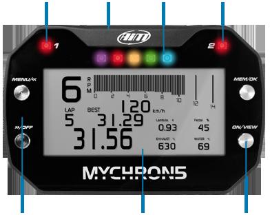 AiM MyChron5 Funktionen vorne